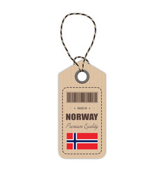 Hang tag made in norway with flag icon isolated on vector