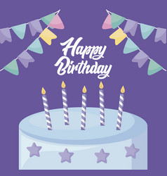 happy birthday card with sweet cake vector image