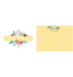 Happy birthday postcard holiday card with bright vector