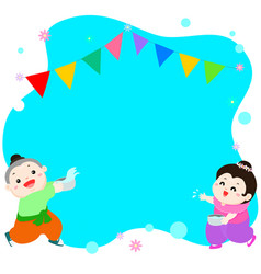 happy boy and girl splashing in songkran festival vector image