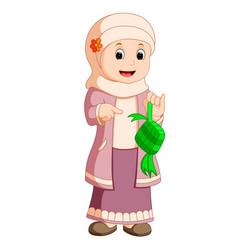 Happy muslim kid cartoon vector
