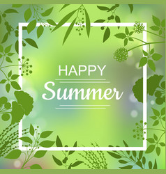 happy summer green card vector image
