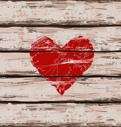 Heart symbol on wooden boards vector