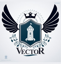 Heraldic emblem made using graphic elements like vector