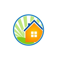 home ecology shine logo vector image