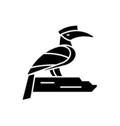 Hornbill black glyph icon vector