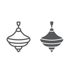 humming top line and glyph icon vector image