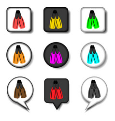 icon for set symbols rubber flippers vector image