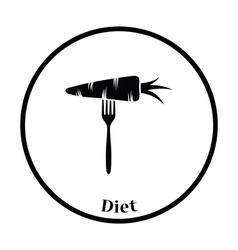 Icon of diet carrot on fork vector