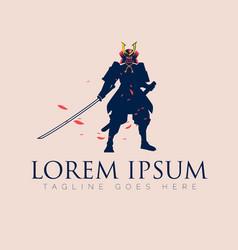 japanese swordman warrior silhouette vector image