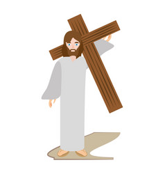 Jesus christ carries cross via crucis vector