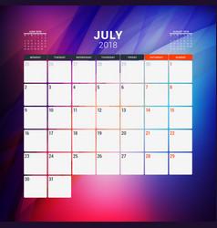 July 2018 calendar planner design template vector
