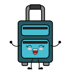 Kawaii travel suitcase icon vector