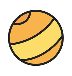 kids toy yellow rubber beach ball icon vector image