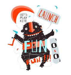 Kitesurfer monster fun inspirational poster design vector