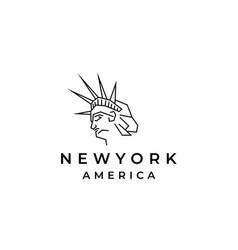 line art statue of liberty logo design template vector image