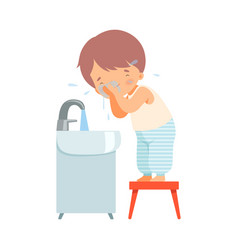 Little boy washing up his face in morning vector