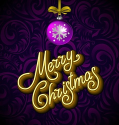 Merry Christmas Card with Neon Color and Bokeh vector image