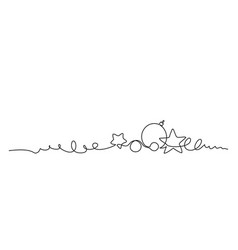 merry christmas decoration continuous one line vector image