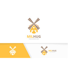 mill and hands logo combination farm and vector image