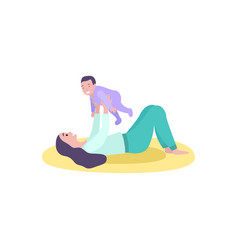 Mother playing with son childhood and motherhood vector