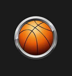 Orange basketball button vector
