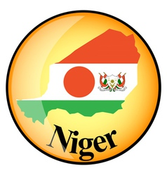 Orange button with the image maps of Niger vector