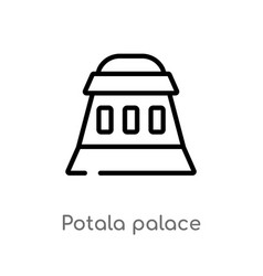 Outline potala palace icon isolated black simple vector