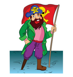 pirate holding a flag vector image