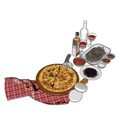 pizza food on white background vector image