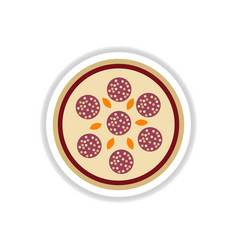 Pizza with salami sticker vector