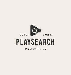 play search hipster vintage logo icon vector image