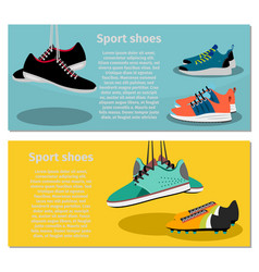 Running sport shoes flyers vector