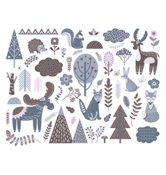 scandinavian forest fashion nordic graphic cute vector image