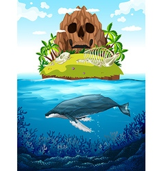 Scene with island and whale underwater vector image
