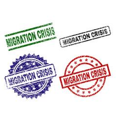 Scratched textured migration crisis stamp seals vector