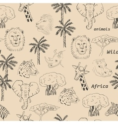 Seamless pattern with wild animals of Africa vector image