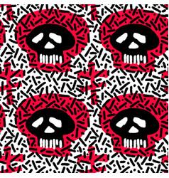 seamless skulls textile doodle pattern grunge vector image