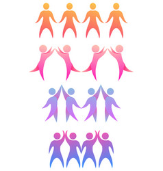 Set of chain with rainbow people holding hands vector