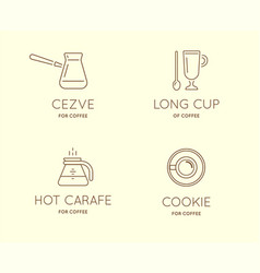set of coffee accessories icons with letter sign vector image