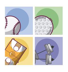 set of sports equipment vector image