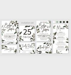 Set of wedding invitations floral invitations vector