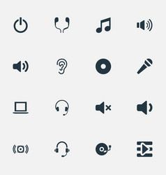 Set simple music icons elements listen sound vector