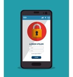 Smartphone login padlock password vector