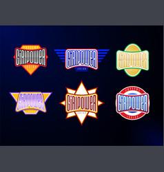 sport emblem typography set super girl power hero vector image