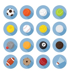 Sports Equipment Ball Flat Icons Set vector
