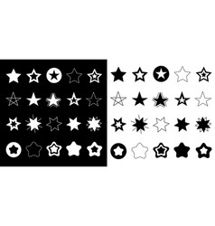 stars sparkles sign symbol icon set hand drawing vector image