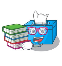 Student with book tissue box isolated on the vector
