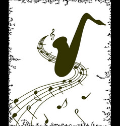Stylish template of saxophone on white background vector