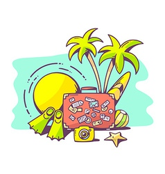 Summer holiday on green background vector